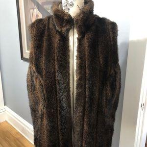 Faux fur and cream vest